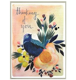 Cinnamon Aitch Card-Thinking of You Bird & Flowers