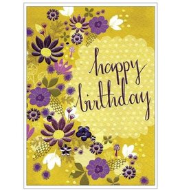 Cinnamon Aitch Floral Purple Happy Birthday Card