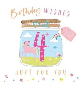 Belly Button Designs Card- Wishes Unicorn 4th Bday
