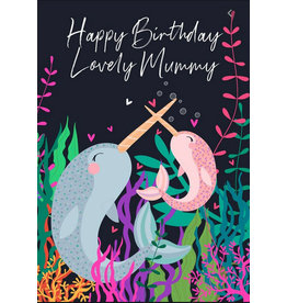 Belly Button Designs Happy Birthday Mommy Narwhal Card