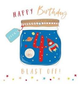 Belly Button Designs Card- Blast Off Rocket 4th Bday