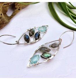 Cristy's Aquamarine and Labradorite Mosaic Leaf