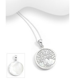 Sterling Mother Of Pearl Tree Necklace (More Colours)