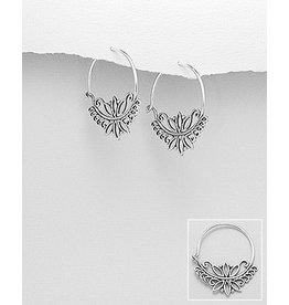 Sterling Oxydized Lotus Hoops