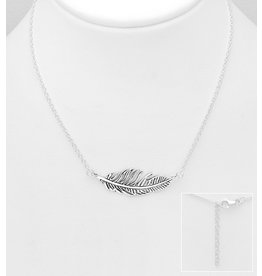 Sterling Oxidized Feather Necklace