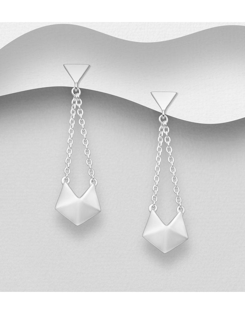 Sterling Geometric Drop Earrings
