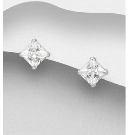 Sterling Studs:  Square CZ