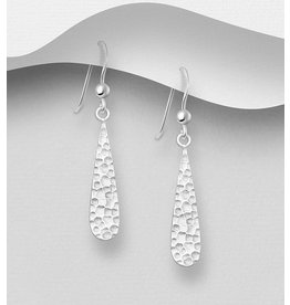 Sterling Drops- Sterling Silver Hammered