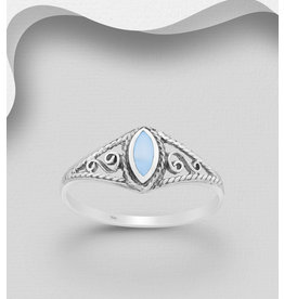 Sterling Ring W/Blue Mother Of Pearl