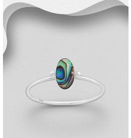 Sterling Ring-  Oblong Abalone