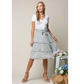 Doe & Rae Juno Ruffle Skirt in Warm Grey