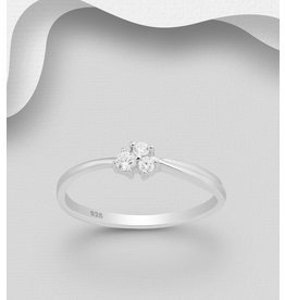 Sterling Ring-  Triple Cubic Zirconia