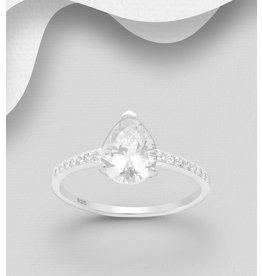 Sterling Ring- Pear Shaped CZ