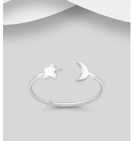 Sterling Ring- Star/Moon