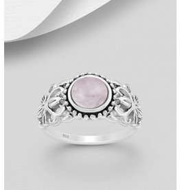 Sterling Ring-  Filigree W/Pink Quartz