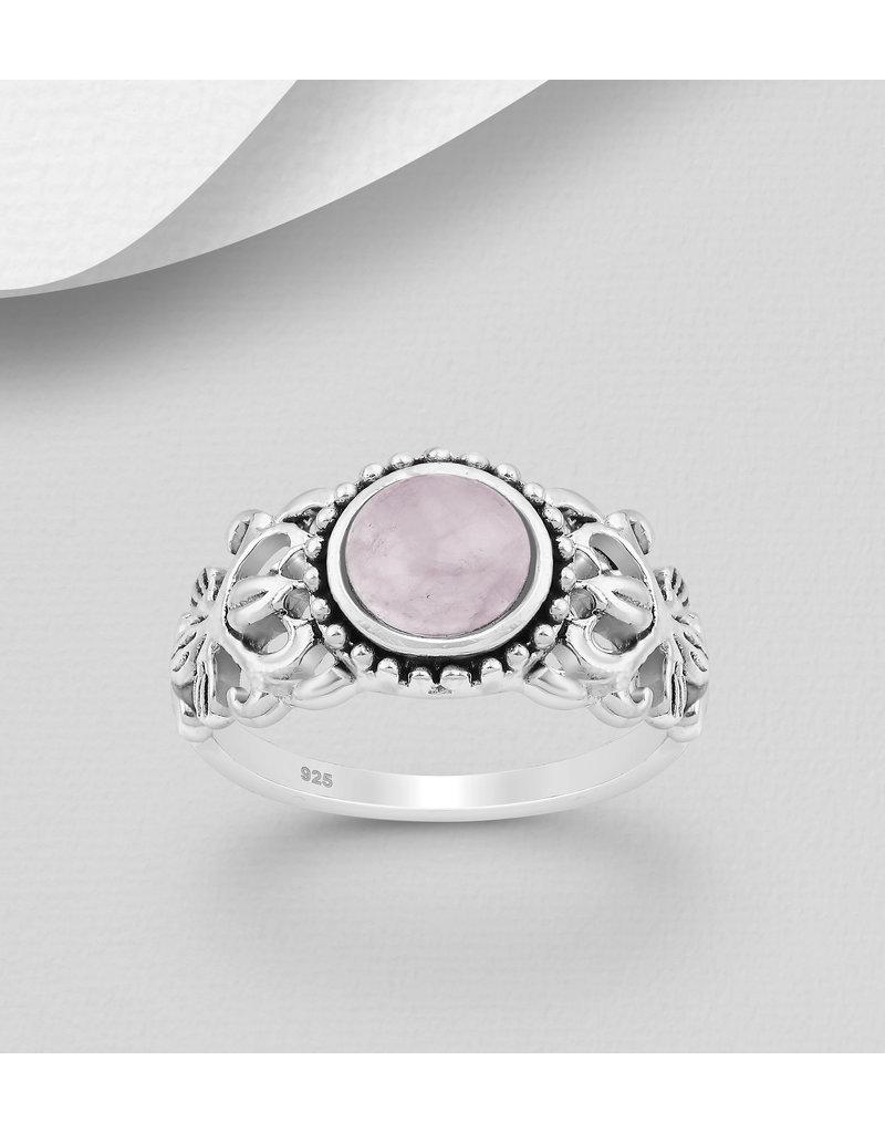 Sterling Ring-  Filigree W/Pink Quartz