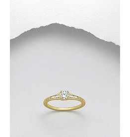 Sterling Gold Ring-CZ