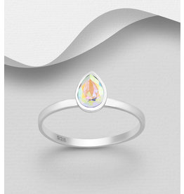 Sterling Swarovski- Pear Ring