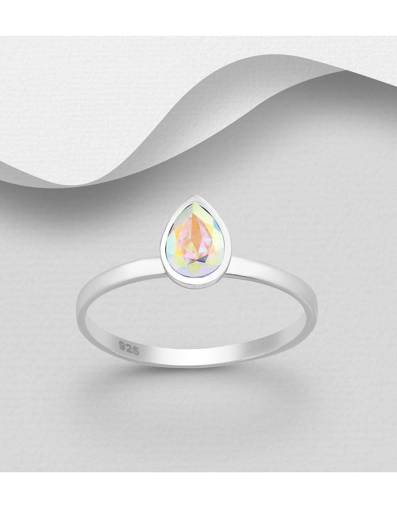 Sterling Swarovski- Pear Ring