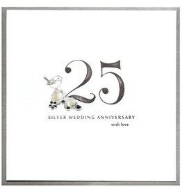 Cinnamon Aitch Card 25 Silver Anniversary With Love