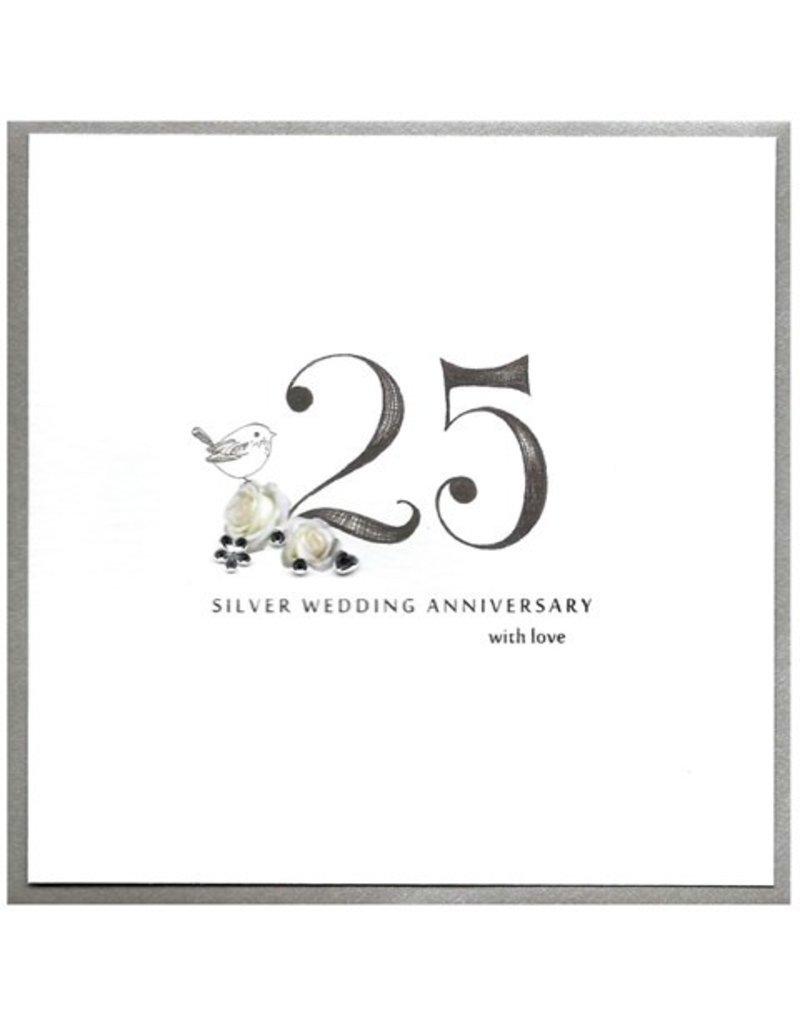 Cinnamon Aitch Card 25 Silver Anniversary With Love