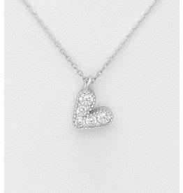 "Sterling Necklace- Multi-CZ Heart-16.5""-18.5"""