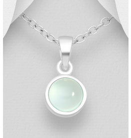 Sterling Sterling Silver Aqua Chalcedony Necklace