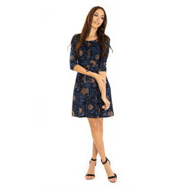 Miss. Lulo Sophia Black, Navy and Rust Dress
