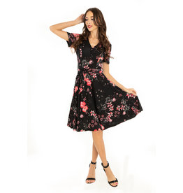 Miss. Lulo Patsy Black Floral Knit Dress