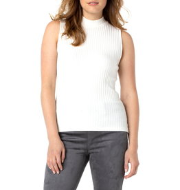 Liverpool Gabby Mock Neck Sleeveless Tee in Snow