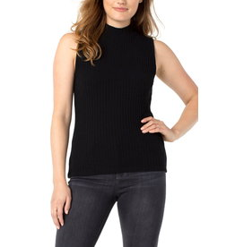 Liverpool Gabby Mock Neck Sleeveless Tee in Black