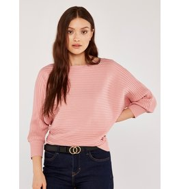 Apricot Ribbed Batwing Sweater in Pink