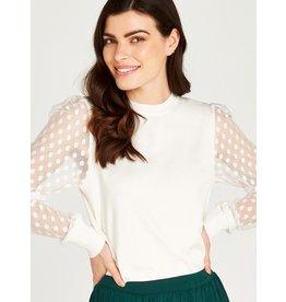 Apricot Polka Dot Mesh Knit Sweater in Cream