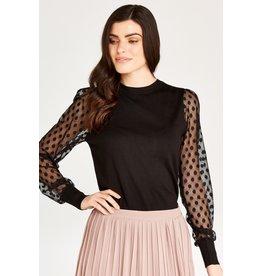 Apricot Polka Dot Mesh Knit Sweater in Black