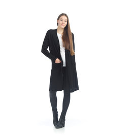 Papillon Sarah- Long Cardigan with Side Slit in Black