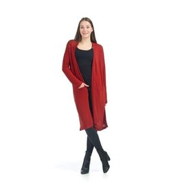 Papillon Sarah- Long Cardigan with Side Slit in Rust