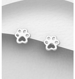 Sterling Sterling Silver Paw Studs