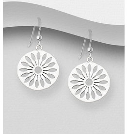 Sterling Sterling Silver Drops- Floral in Circle