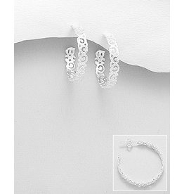 Sterling Sterling Filigree Patterned Hoop Earrings