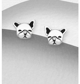 Sterling Pug Dog Stud Earrings