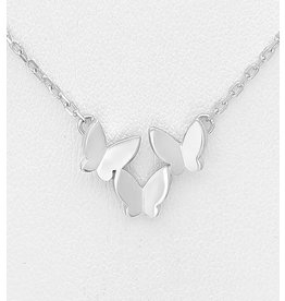 Sterling Necklace- Matte Sterling Silver Multi Butterfly