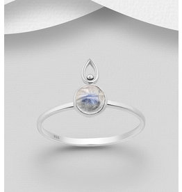 Sterling Sterling Ring-Rainbow Moonstone