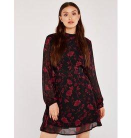 Apricot Mimi Branches Chiffon Dress