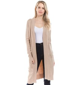 Cielo Avery- Long Cardigan in Khaki