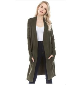 Cielo Avery- Long Cardigan in Olive