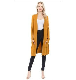 Cielo Avery- Long Cardigan in Mustard