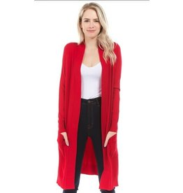 Cielo Avery- Long Cardigan in Red