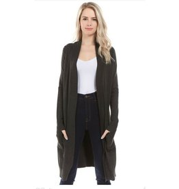 Cielo Avery- Long Cardigan in Charcoal Gray