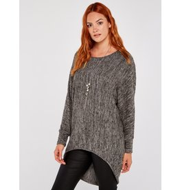 Apricot Callum Necklace Batwing Top Grey