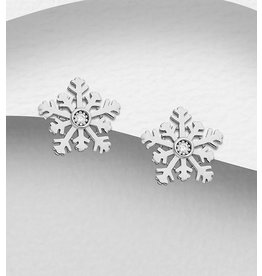 Sterling Studs:  Snowflakes W/CZ in Center